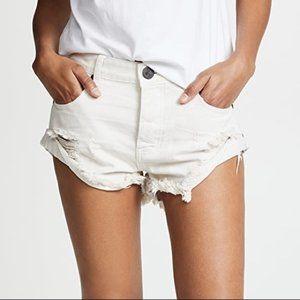 One Teaspoon Distressed White Denim Shorts 27